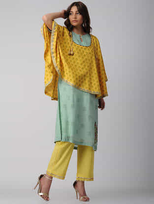 Yellow-Green Embroidered Block-printed Bamberg Net-Cotton Kurta with Cape (Set of 2)