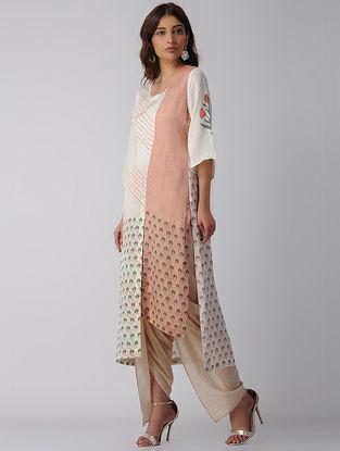 Ivory-Pink Block-printed Bamberg Linen Kurta