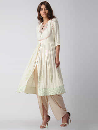 Ivory Block-printed Modal Satin Kurta with Embroidery