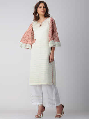 Ivory-Pink Block-printed Bamberg Linen Kurta with Embroidery
