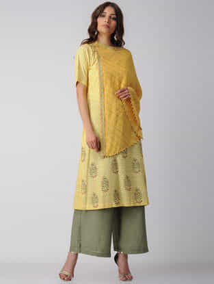 Yellow Embroidered Block-printed Bamberg Net Kurta with Cape (Set of 2)