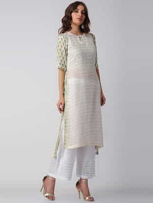 White-Green Embroidered Block-printed Bamberg Net Kurta with Slip (Set of 2)