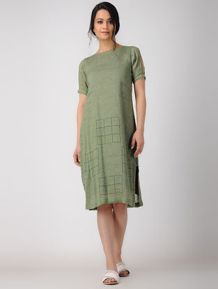 Olive Block-printed Linen Dress