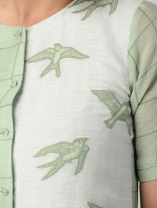 Green-White Block-printed Bemberg Net Shirt with Embroidery