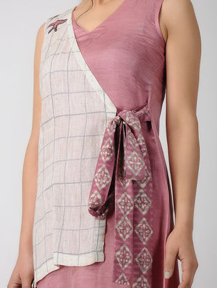 Pink Block-printed Bemberg Linen Dress with Embroidery