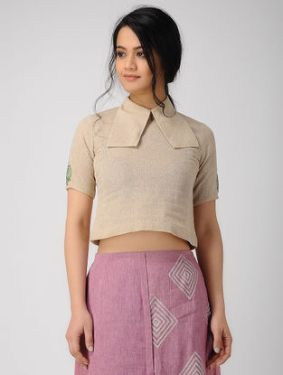 Beige Embroidered Chambray Top