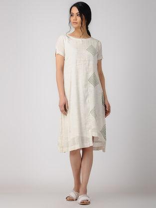 White Block-printed Linen Dress