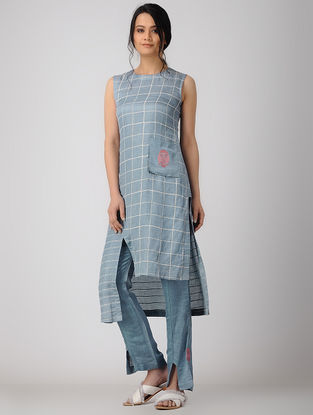 Blue Block-printed Bemberg Linen Tunic with Embroidery
