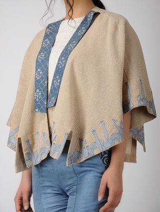 Beige Embroidered Chambray Cape