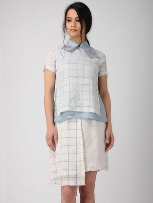 Blue-White Block-printed Bemberg Linen Top with Embroidery