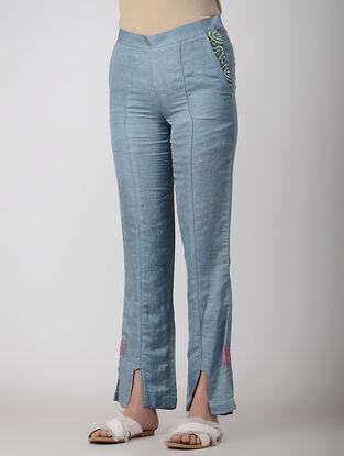 Blue Embroidered Bemberg Linen Pants