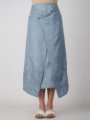 Blue Embroidered Bemberg Linen Skirt