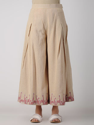 Beige Embroidered Chambray Pants