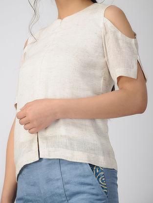 White Cold-Shoulder Linen Top
