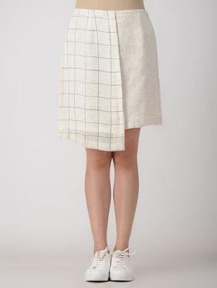 White Block-printed Linen Skirt