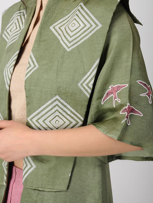 Olive Block-printed Bemberg Linen Jacket with Embroidery