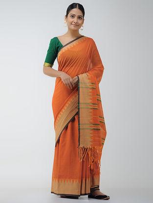 Orange Cotton Saree with Woven Border