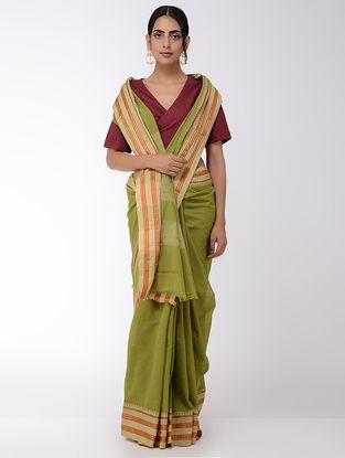 Green Checkered Narayanpet Cotton Saree with Zari Border