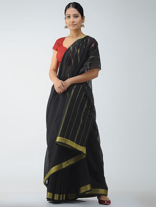 Black Cotton Saree with Zari Border