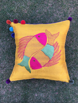 Gond Matsya Mustard-Multicolored Embroidered Raw Silk Cushion Cover with Pom-pom