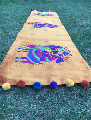 Gond Hiran Golden-Multicolored Embroidered Raw Silk Table Runner with Pom-pom (48in x 12in)