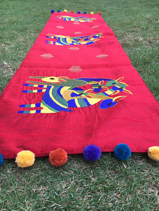 Gond Hiran Multicolored Embroidered Raw Silk Table Runner with Pom-pom (47in x 11.5in)