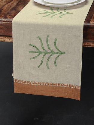 Beige-Brown Cotton Table Runner (44in x 11.5in)