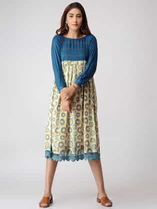 Teal-Yellow Printed Pleated Cotton Dobby Dress