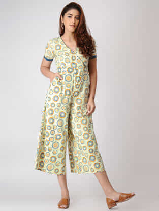 Teal- Yellow Printed Cotton Dobby Jumpsuit