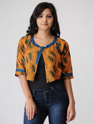 Mustard-Teal Printed Cotton Dobby Overlay