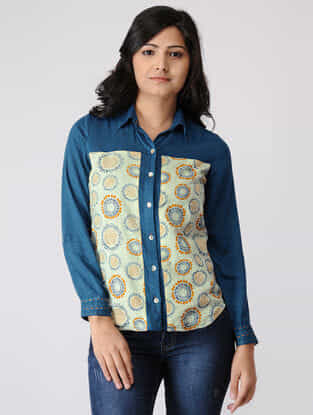 Teal-Yellow Printed Cotton Dobby Top