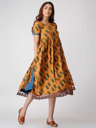 Mustard-Teal Printed Pleated Cotton Dobby Dress with Slip (Set of 2)