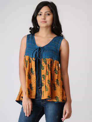 Mustard-Teal Printed Pleated Cotton Dobby Overlay