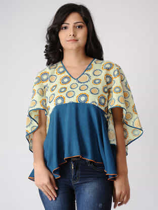 Teal-Yellow Printed Cotton Dobby Top with Asymmerical Hem