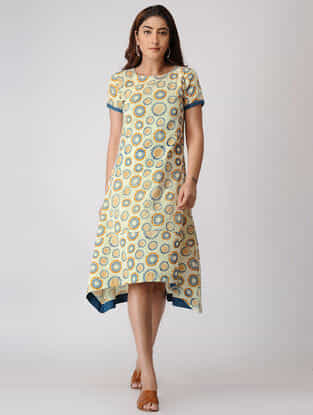 Teal-Yellow Printed Cotton Dobby Dress with Asymmerical Hem