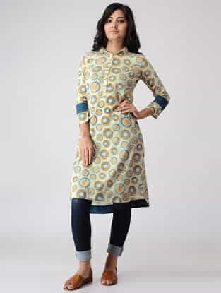 Teal-Yellow Printed Cotton Dobby Tunic