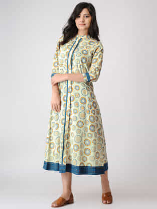 Teal-Yellow Printed Mandarin Collar Cotton Dobby Dress