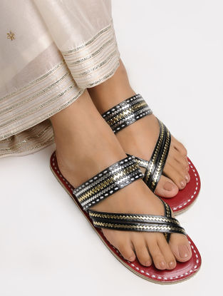 Black-Red Cross Strap Leather Flats with Tilla Embroidery