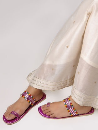 Pink Toe Ring Leather Flats with Tilla Embroidery