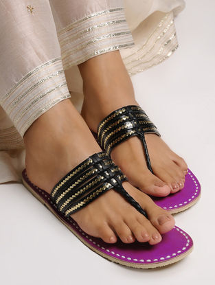 Black-Pink Leather Flats with Tilla Embroidery