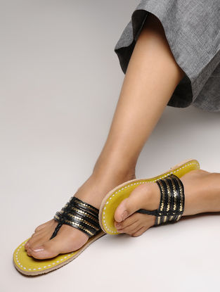Black-Yellow Leather Flats with Tilla Embroidery