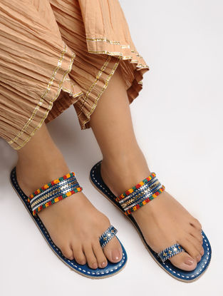 Blue-Multicolored Toe Ring Leather Flats with Tilla Embroidery
