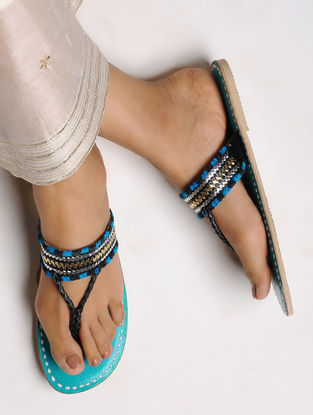 Black-Blue Leather Flats with Tilla Embroidery