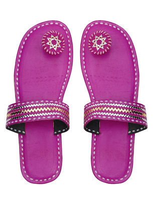 Pink Handcrafted Leather Flats with Tilla Embroidery