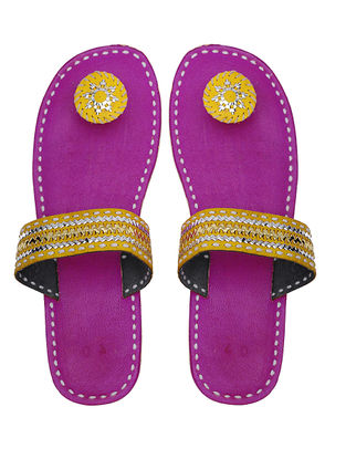 Pink-Yellow Handcrafted Leather Flats with Tilla Embroidery