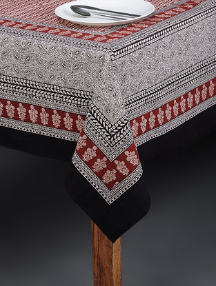 Maroon-Beige Bagh Printed Cotton Table Cover (90in x 60in)