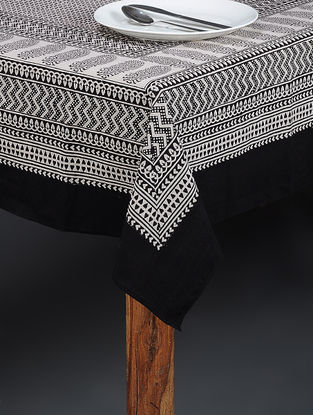 Black-Beige Bagh Printed Cotton Table Cover (90in x 60in)