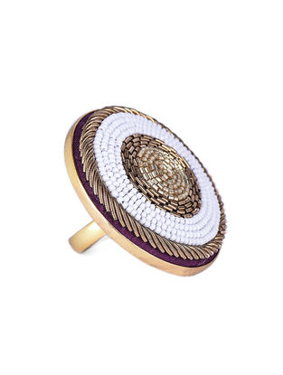 White Beaded Gold-plated Brass Adjustable Ring