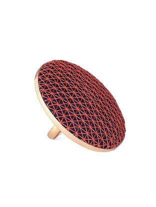 Orange-Blue Embroidered Gold-plated Brass Adjustable Ring