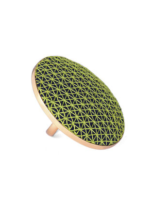 Green-Blue Embroidered Gold-plated Brass Adjustable Ring